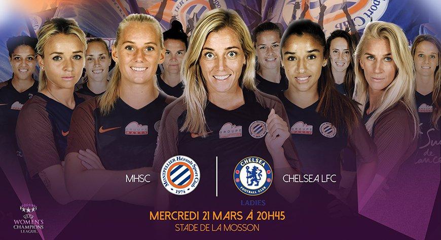 Mercredi 21 mars 2018 : Ligue des champions féminine MHSC – Chelsea à20h45