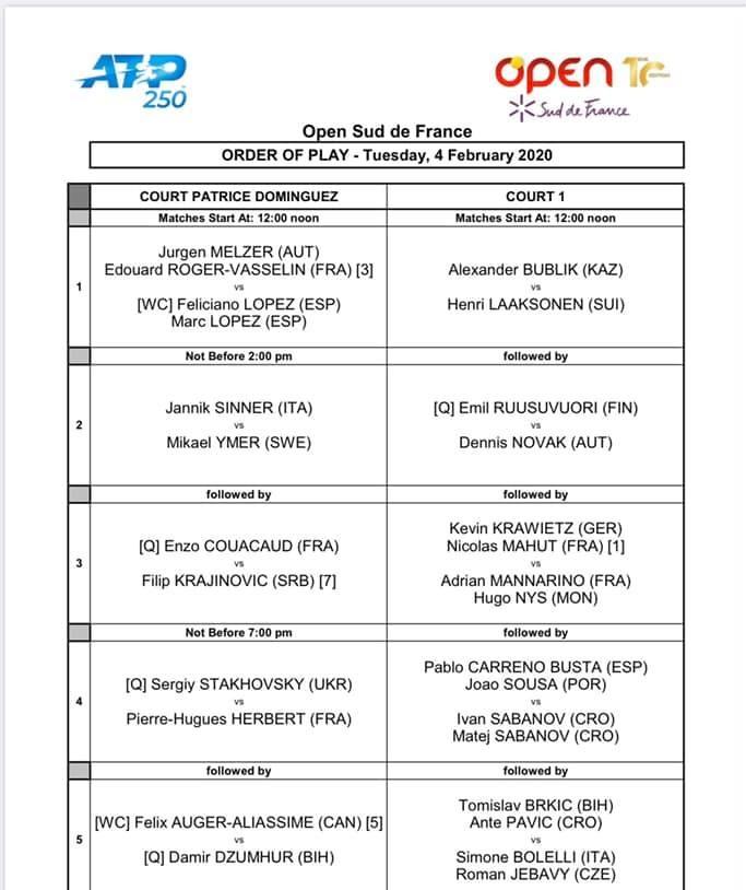 programme mardi 4 fev Open tennis